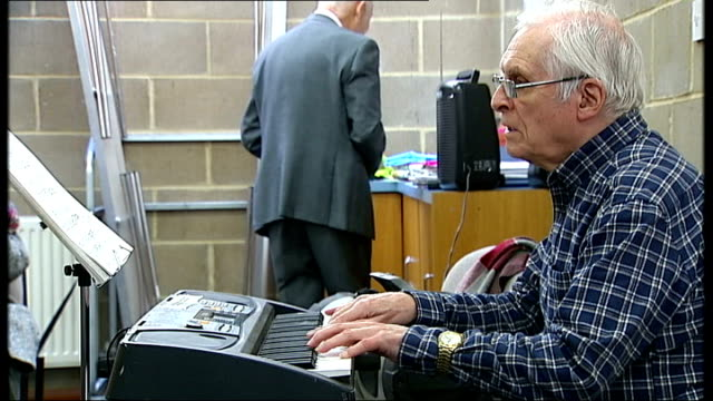 to host g8 dementia summit; **music heard sot** various shots of dominic batty playing keyboard close shot fingers playing keyboard - dementia stock videos & royalty-free footage