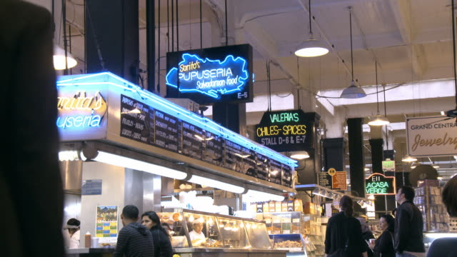 zo to ws of lunch counters inside historic grand central market /los angeles, california, usa - food court stock videos and b-roll footage