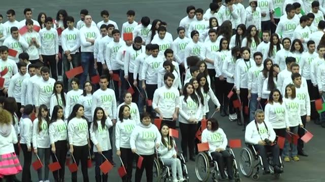 to mark 100 days until the beginning of 4th islamic solidarity games flash mob organization held at cyrstal salon in baku azerbaijan on february 01... - flash mob stock videos and b-roll footage