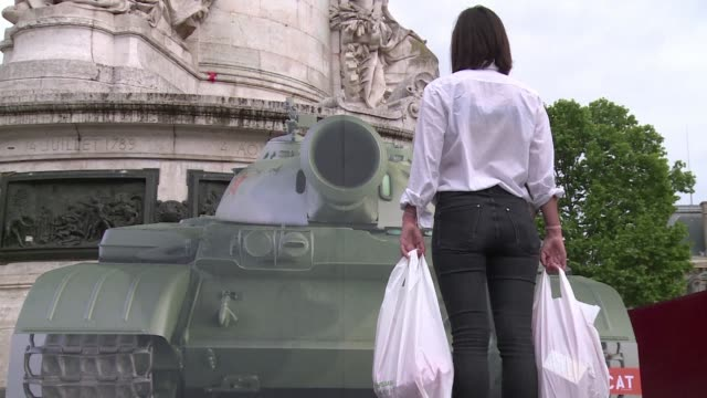 to mark the 30th anniversary of the tiananmen square protests a french ngo is reproducing the iconic tank man photo with a life size cutout of a tank... - tiananmen square stock videos & royalty-free footage