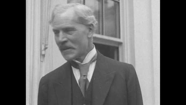 british ambassador to the us sir esme howard; ishbel macdonald; british prime minister ramsay macdonald pose for photos outside the white house,... - looking at camera stock videos & royalty-free footage