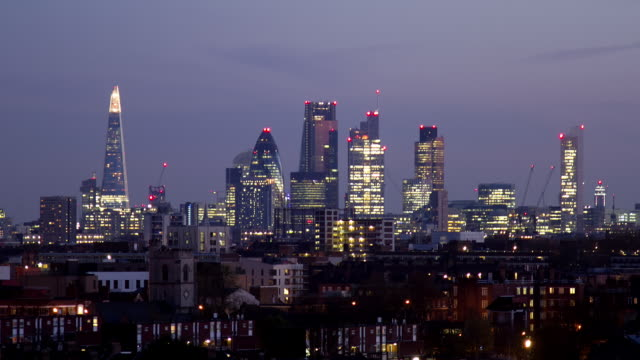ls to ws zo  time lapse of city of  london transition from dusk to  night - 2014 stock videos & royalty-free footage