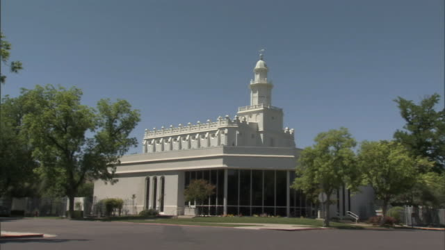 hd * zi to ms top of tower of st george utah temple of latter day saints ut mormonism religion - mormonism stock videos & royalty-free footage