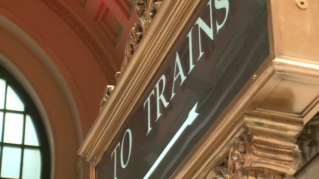 WGN 'To Trains' Sign in Chicago Union Station's Great Hall in Chicago on November 30 2015
