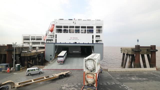 stockvideo's en b-roll-footage met eu to uk cargo shipping aboard mega vessel delphine in zeebrugge belgium on wednesday july 18 2018 - zeebrugge