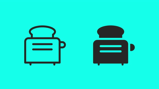 toaster icons - vector animate - outline stock videos & royalty-free footage