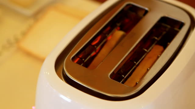 toaster with bread - toaster appliance stock videos & royalty-free footage