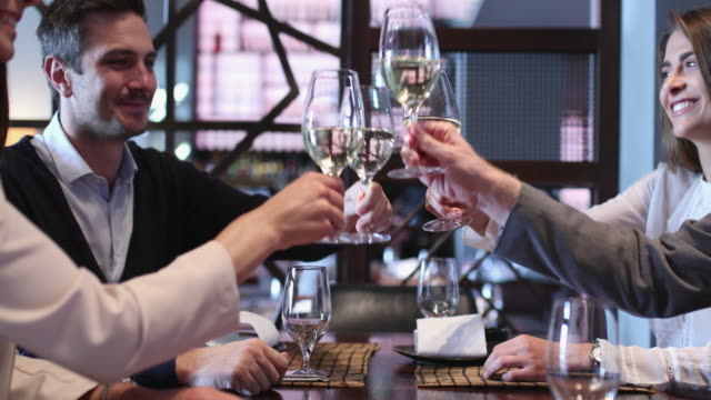 toasting at business lunch - part of a series stock videos & royalty-free footage