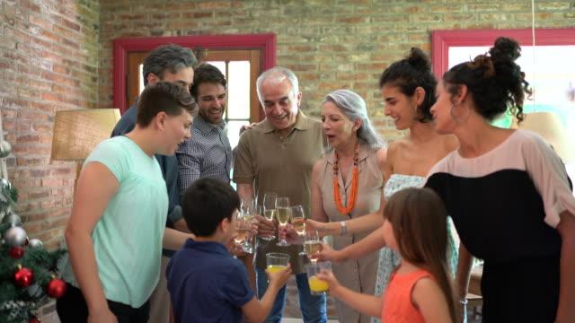 vidéos et rushes de toast au bonheur. couples aînés avec leurs petits-enfants, fille, fils et ses couples - son