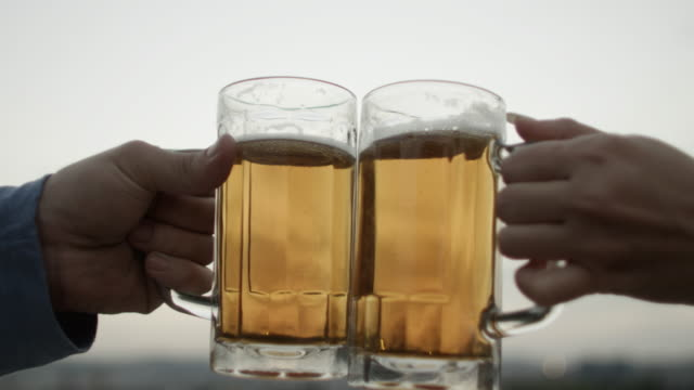 toasting with beers - beer glass stock videos & royalty-free footage