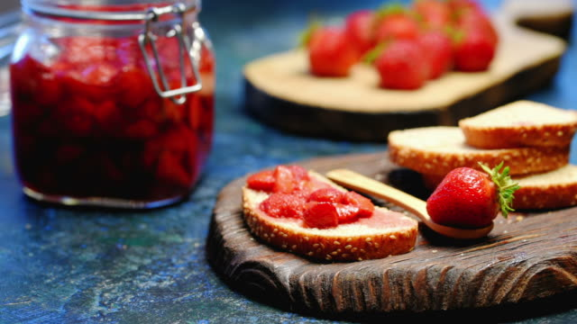 toasts and strawberries - jam stock videos & royalty-free footage