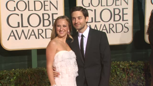 tobey maguire and guest at the 67th annual golden globe awards arrivals part 5 at beverly hills ca - tobey maguire stock videos and b-roll footage