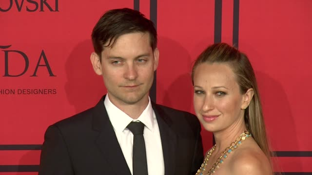 tobey maguire and jennifer meyer at 2013 cfda fashion awards arrivals at alice tully hall on june 03 2013 in new york new york - tobey maguire stock videos and b-roll footage