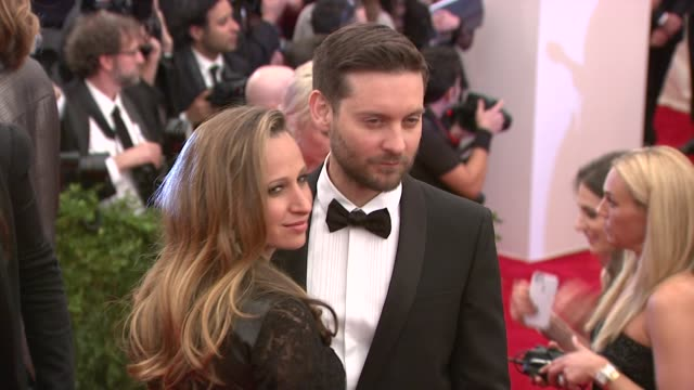 tobey maguire and jennifer meyer at punk chaos to couture costume institute gala at metropolitan museum of art on may 06 2013 in new york new york - tobey maguire stock videos and b-roll footage