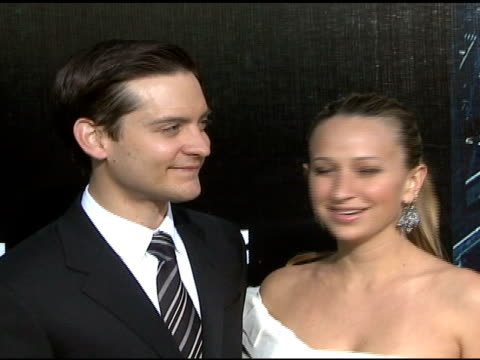 tobey maguire and jennifer meyer at the 'spiderman 3' premiere at 2007 tribeca film festival at the astoria kaufman theater in new york new york on... - tobey maguire stock videos and b-roll footage