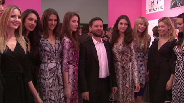 tobey maguire at diane von furstenberg's journey of a dress exhibition opening celebration in los angeles ca - tobey maguire stock videos and b-roll footage