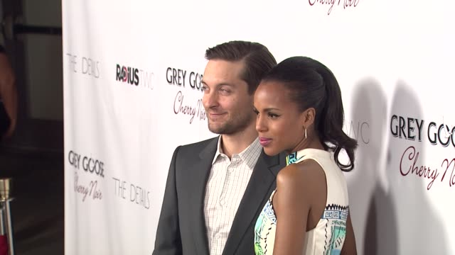 tobey maguire kerry washington at grey goose vodka hosts 'the details' premiere in hollywood 10/29/12 - grey goose vodka stock videos & royalty-free footage