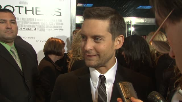 tobey maguire on preparing for the role on the reception for his performance in brothers on spider man and on how playing this role changed his views... - tobey maguire stock videos and b-roll footage