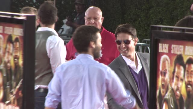 tobey maguire tom cruise at the tropic thunder premiere at los angeles ca - tobey maguire stock videos and b-roll footage