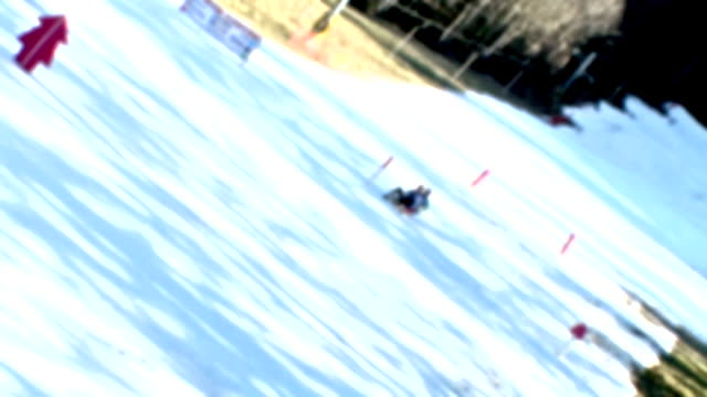hd: tobogganing in the winter - digital enhancement stock videos and b-roll footage