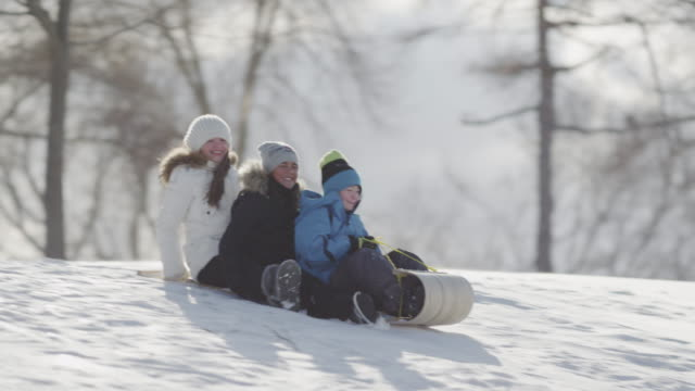 tobogganing on a hill with friends - winter sport stock videos and b-roll footage