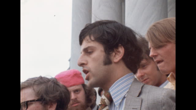 toby moffett speaks on steps of the capitol building about polarization of young people. he says the shootings at kent state were preventable and... - united states and (politics or government) stock videos & royalty-free footage