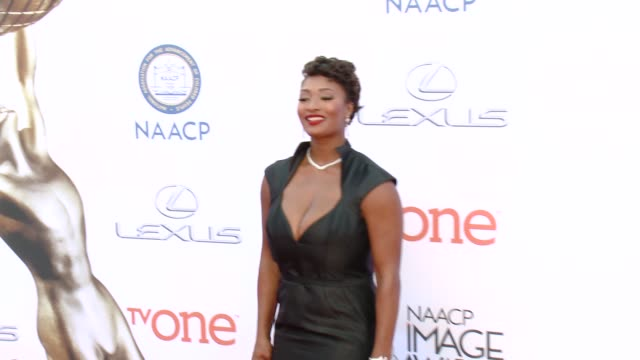 stockvideo's en b-roll-footage met toccara jones at the 46th annual naacp image awards - arrivals at pasadena civic auditorium on february 06, 2015 in pasadena, california. - pasadena civic auditorium
