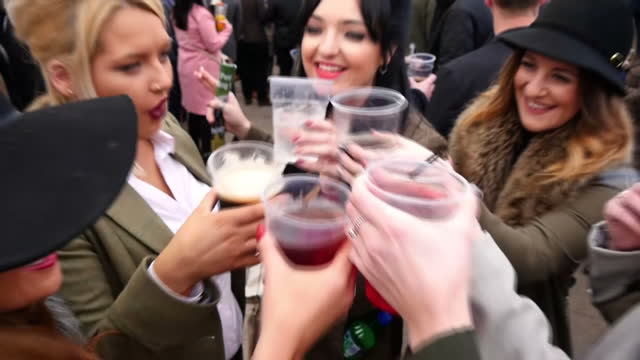 vídeos de stock, filmes e b-roll de today is the opening day of the cheltenham festival and organisers are taking measures to crack down on antisocial behaviour at the event horseracing... - cheltenham