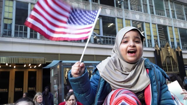 """Today's rally was named """"Today I Am A Muslim Too A Day of Solidarity"""" / Protesters gathered in Times Square to support American Muslims and for a day..."""