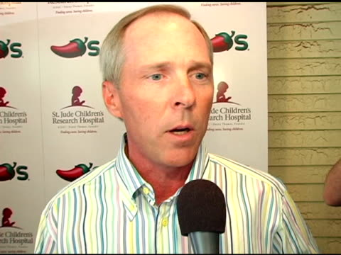todd diener president of chili's on involvement with st jude's on their pepper coloring campaign and on donating all corporate profits from september... - chili's grill & bar stock videos and b-roll footage