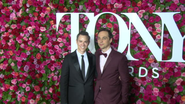 todd spiewak and jim parsons at the 2018 tony awards red carpet at radio city music hall on june 10 2018 in new york city - jim parsons stock videos and b-roll footage