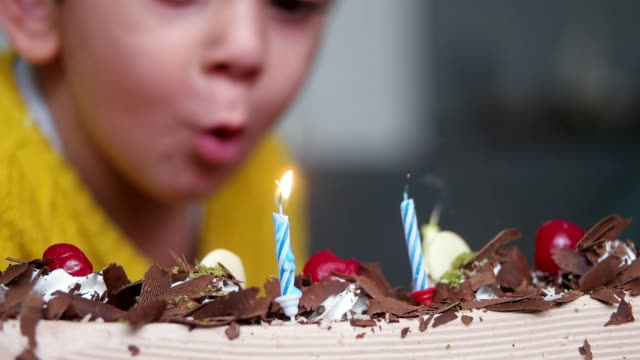 toddler boy celebrating birthday - birthday cake stock videos & royalty-free footage