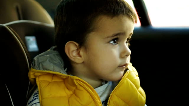 toddler boy driving in car - vehicle seat stock videos & royalty-free footage