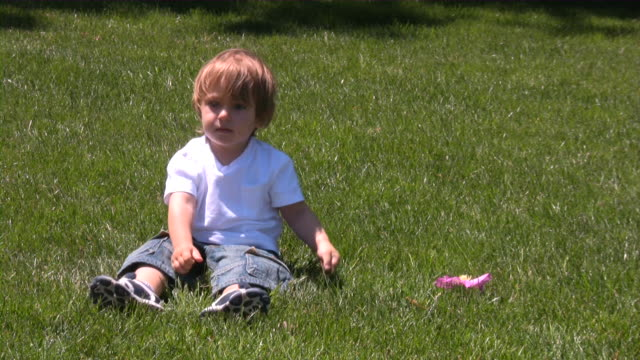 toddler boy having a great time playing on back yard - one baby boy only stock videos & royalty-free footage