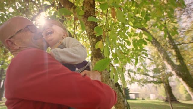 stockvideo's en b-roll-footage met slo mo peuter jongen lachen in zijn opa's wapens in het zonnige park - 60 64 jaar