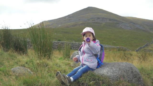 toddler girl hiking in countryside,northern ireland - backpack stock videos & royalty-free footage