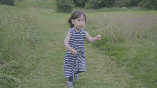 夏の田舎で遊ぶ幼児の女の子 - 女の赤ちゃん点の映像素材/bロール