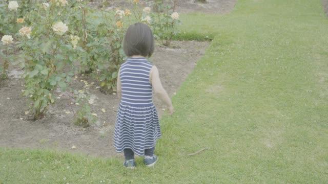 vídeos y material grabado en eventos de stock de jardín color de rosa de chica de niño jugando en verano - jardín formal