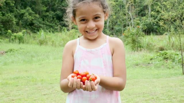 vídeos y material grabado en eventos de stock de niño sonrisa con tomates en la mano - antillas occidentales
