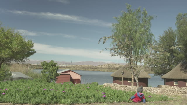 toddler playing by plants near river against sky on sunny day, huts on riverbank - windhoek, namibia - farm stock videos & royalty-free footage