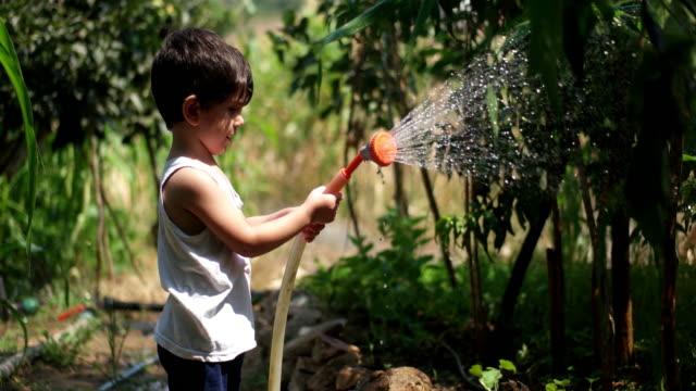 幼児は夏の間に屋外で水ホースで遊ぶ - 水撒き点の映像素材/bロール