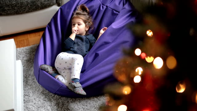 toddler relaxing on a bean bag - bean bag stock videos & royalty-free footage