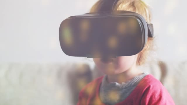 toddler using vr - cyberspace stock videos & royalty-free footage