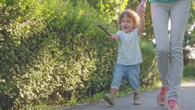 slo mo toddler walking on the sidewalk in sunshine holding his mother's hand and a stick in his other hand - pavement stock videos & royalty-free footage
