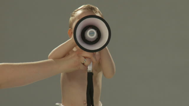 hd: toddler with a megaphone - megaphone stock videos & royalty-free footage