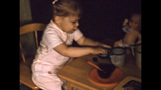 1956 toddler's imaginary tea party - eating utensil stock videos & royalty-free footage