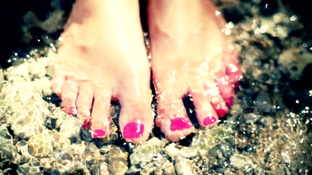 hd: toenails in shallow water - toe stock videos & royalty-free footage