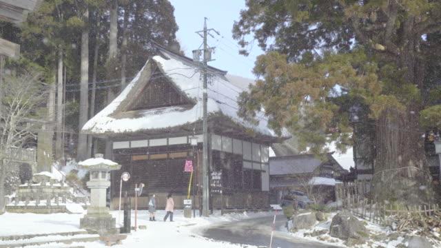 togakushi in winter, nagano, japan, asia - shinto shrine stock videos & royalty-free footage
