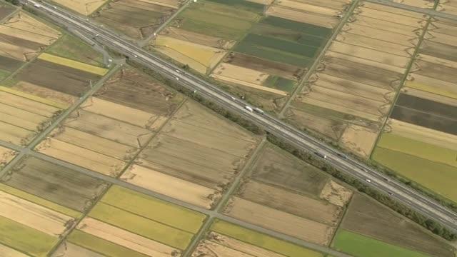 aerial, tohoku expressway, iwate, japan - 田舎点の映像素材/bロール