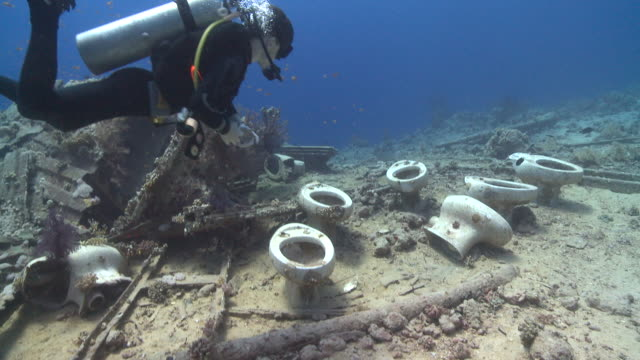 Toilet bowls on sea floor by wreck of Thistlegorm; diver sits on them, Antarctica
